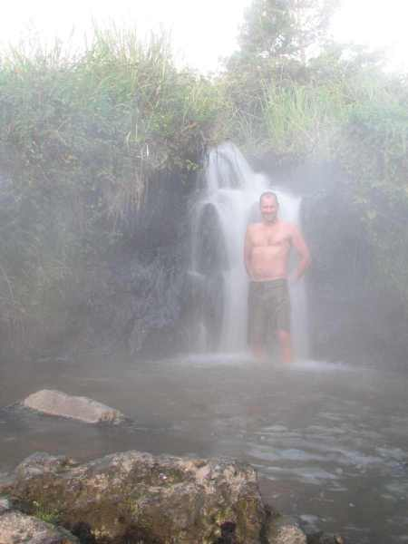Author hard at work once again on a chilly, steaming morning at the Spa Park hot waterfall.
