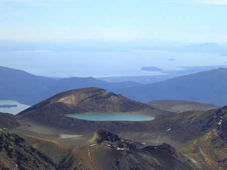 The view from the top, looking over Red Crater to Blue Lake..and then all of Lake Taupo in the distance.  Wow!