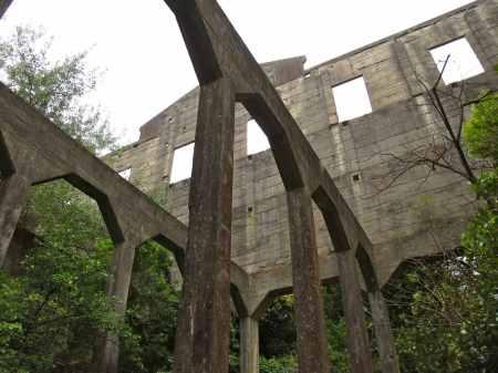 Inside the Tokomaru sheep-freezing ruins.